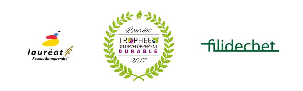 logo laureat reseau entreprendre, laureat trophées du developpement durable et flaureat filidechet